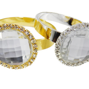 ROUND NAPKIN RINGS GOLD AND SILVER WITH CRYSTAL