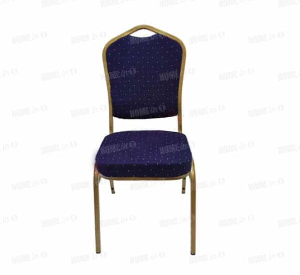 Blue banquet chair with gold frame