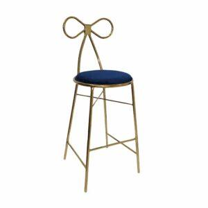 Metal leg bar stool with velvet legs