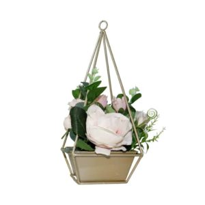 Artificial Flower With Metal Basket