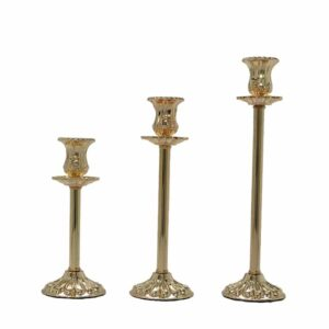 3pc gold candle stand