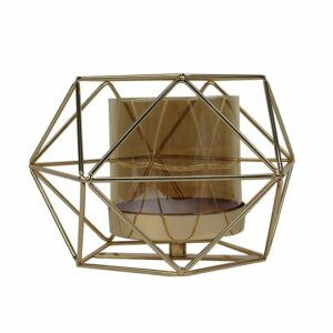 Geometric gold candle stand